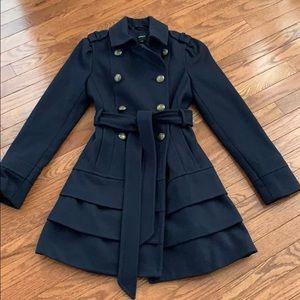 Express Navy Ruffle Bottom Wool Coat